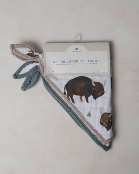 Cotton Muslin Bandana Bib-Bison