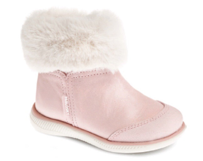 Pink Leather Boot with Faux Fur Trim