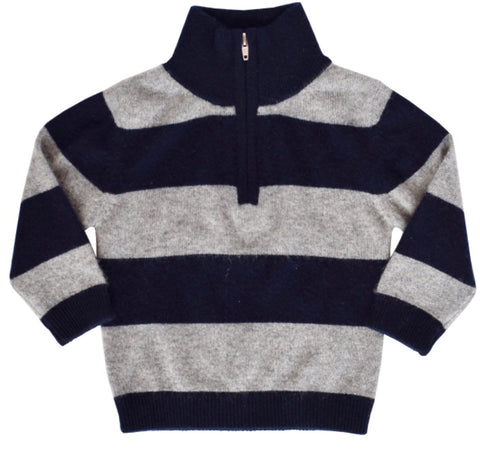 Navy/Grey Stripe Half Zip