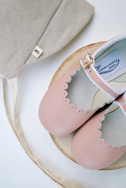 Scalloped Mary Jane in Blush Pink