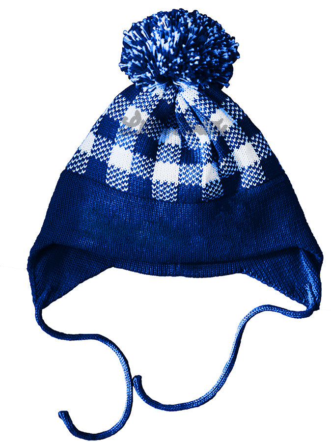 Plaid Earflap Intarsia Hat- Customizable