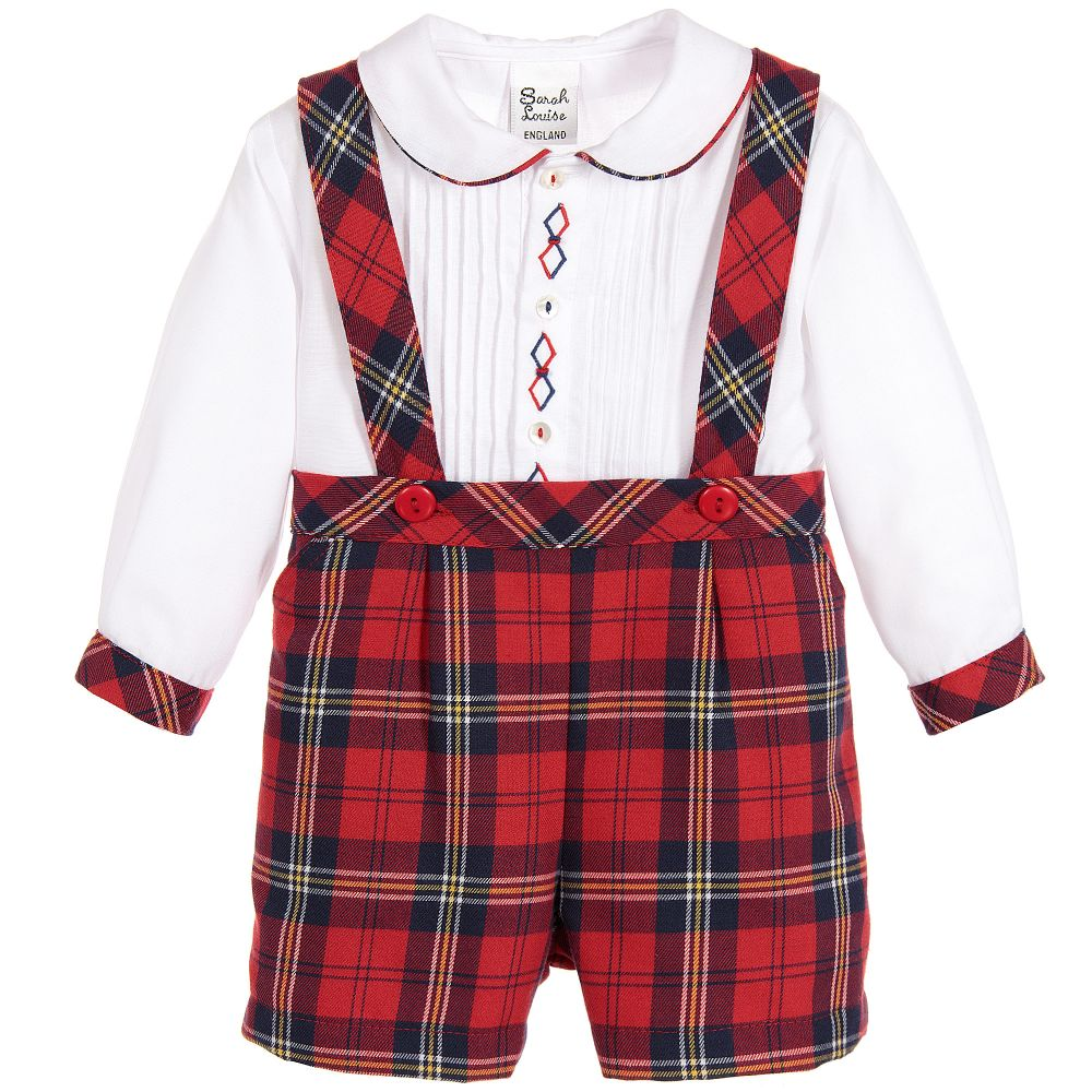 Plaid Suspender Set