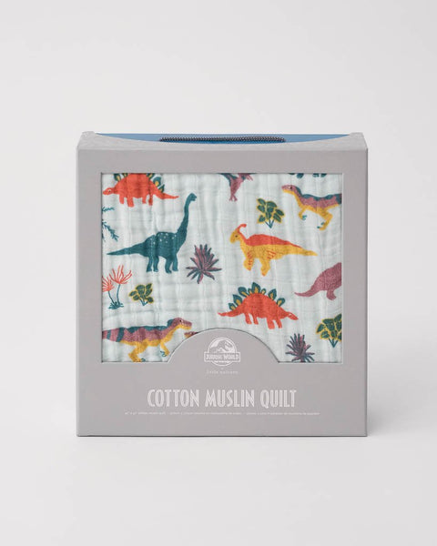 Cotton Muslin Quilt- Jurassic World Embroidosaurus