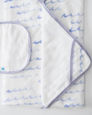 Cotton Hooded Towel & Wash Cloth - High Tide