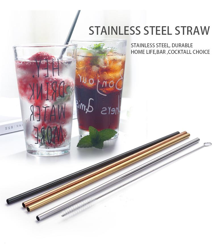 Premium Stainless Steel Drinking Straws + FREE Brush