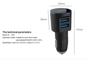 Premium Car Charger 2 Ports Support Fast Charger Output 3.4A ( Android & IPhone)