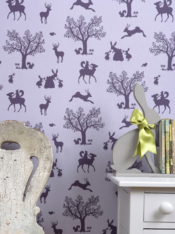Enchanted Wood Wallpaper - Aubergine on Soft Lilac