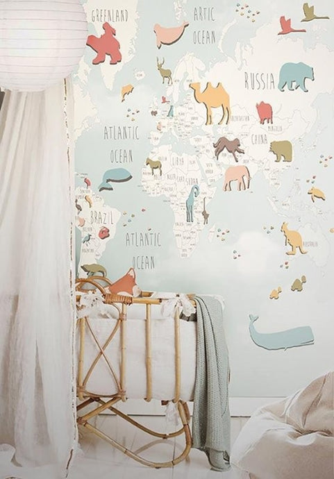 Little Hands Animal World Map Wall Scene - Multi-colours