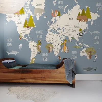 Little Hands Animal and Trees World Map Wall Scene - Blue