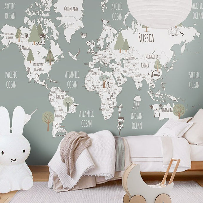 Little Hands Animal and Trees World Map Wall Scene - Grey
