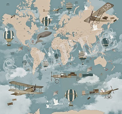 Little Hands Little Aviator World Map Wall Scene - Blue
