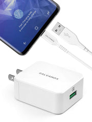 Galvanox Galaxy S10 Charger (18W Adaptive Fast Charge) 5ft USB C Charger Type C Charging Cable with Wall Block Adapter (Compatible with Samsung S10 Phone Models)