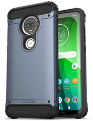 Encased Moto G7 Belt Clip Holster Case (2019 Scorpio Armor) Ultra Protective Tough Grip Cover with Holder Motorola G7 - Slate Blue