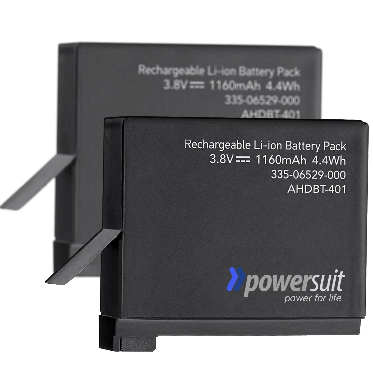 (2 Pack) GoPro Hero 4 Spare Battery Set [PowerSuit Backup / Replacement Part AHDBT-401, AHBBP-401