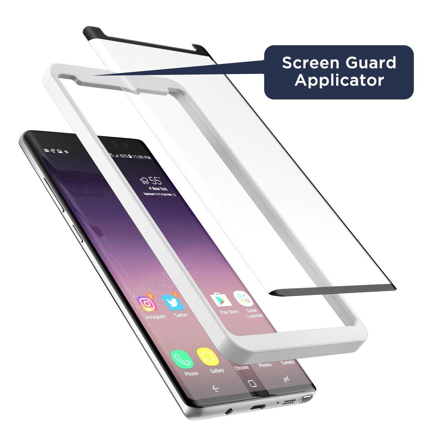 [Case compatible] Galaxy Note 8 Tempered Glass Screen Protector, MagGLASS XT90 Reinforced Screen Guard w/ Pixel Grid Technology (Scratchproof / Shatterproof) (Includes Precision Applicator)