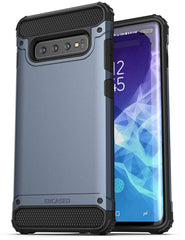 Encased Heavy Duty Galaxy S10 Plus Case (2019 Scorpio Series) Military Grade Rugged Phone Protection Cover (for Samsung Galaxy S10+) Slate Blue