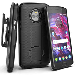 Encased Moto E5 Plus Case Belt Clip Holster, Ultra Thin Slimline Series (Hard Cover) Combo Shell with Alloy Kickstand - for Motorola E5PLUS / E5 Supra (Smooth Black)