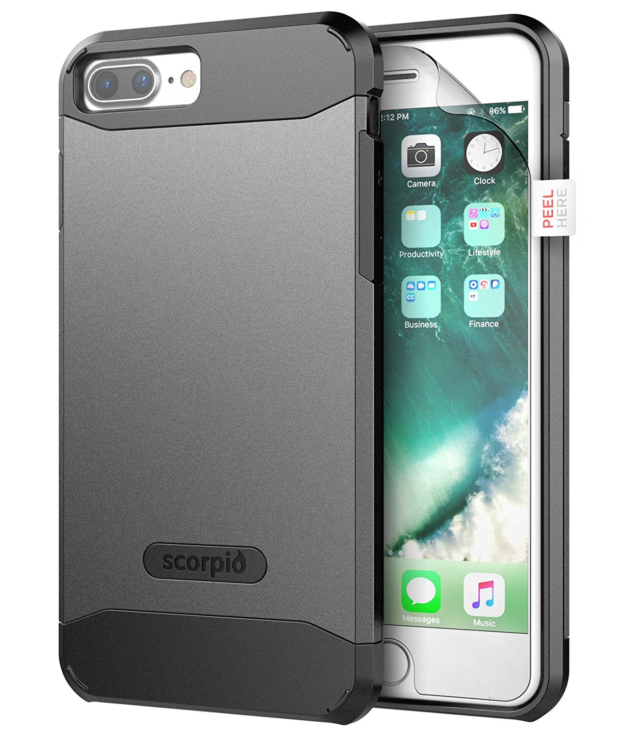 "iPhone 7 Plus (5.5"") Belt Clip Case, Premium Tough Protection w/ Holster - Scorpio R5 by Encased"