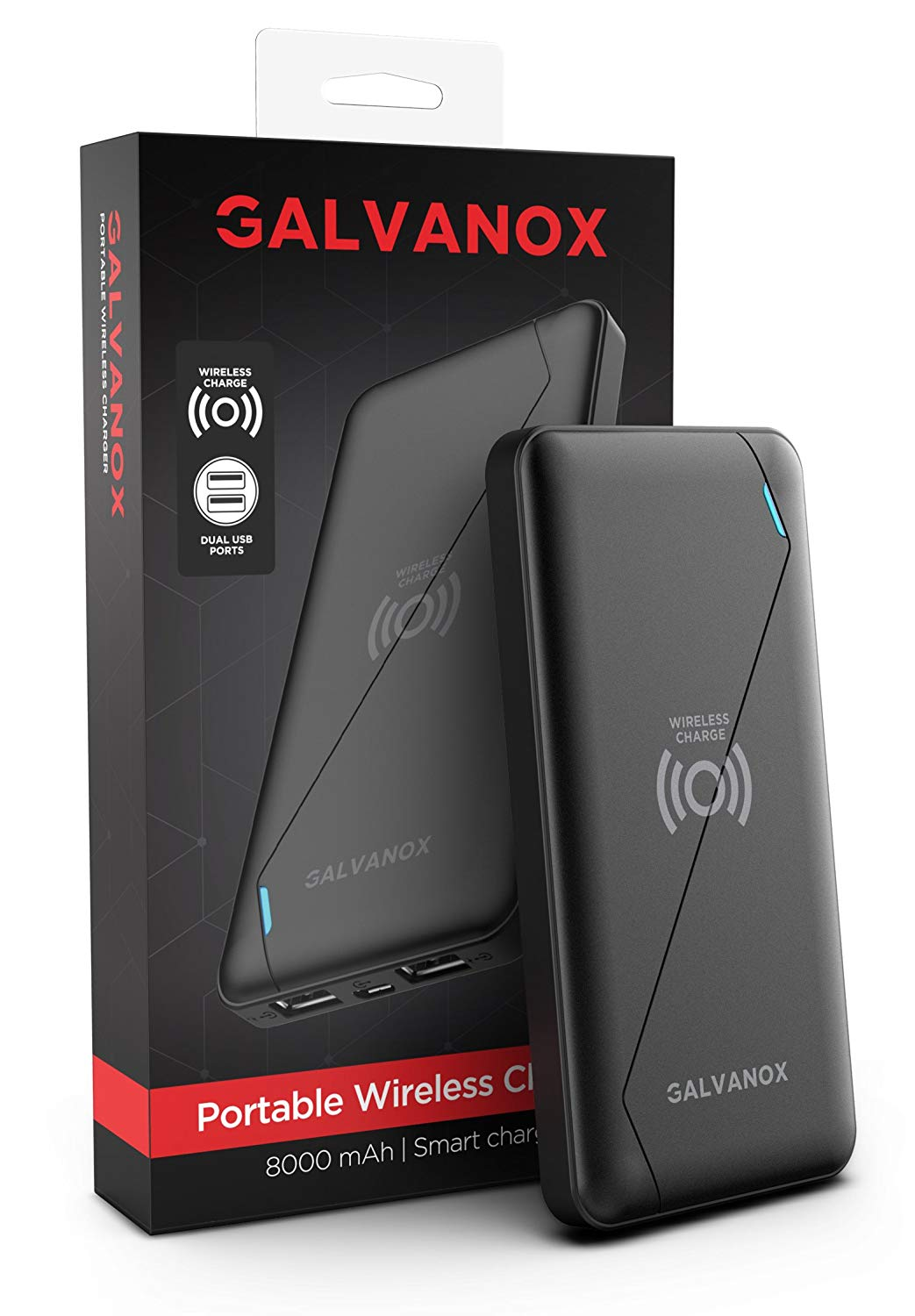 Galaxy S9/S9 Plus Wireless Charger - Galvanox (Qi enabled) Ultra Slim Portable Power Charging Bank (8Ah Capacity Battery)
