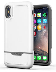 iPhone X Tough Case w/ Screen Protector, Encased [Rebel Series] Rugged Case for Apple iPhoneX (2017 Release) Military Spec Armor Protection (Grey / White)