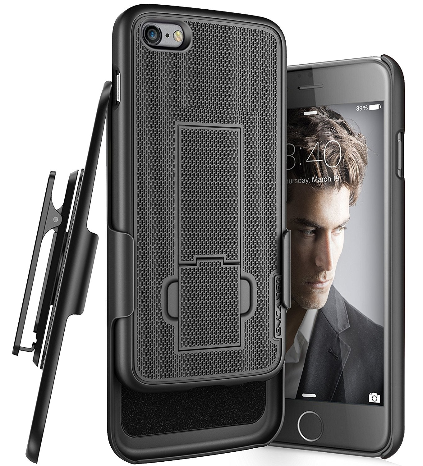 Encased Apple iPhone 6 (4.7inch) Shell Holster Combo Case with Kickstand & Belt Clip (Black)