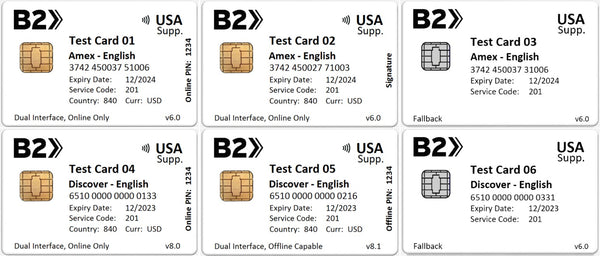 B2 USA Supplementary EMV Test Card Set (6xCards)