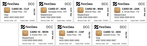 First Data DCC Supplementary Test Card Set (7xCards)