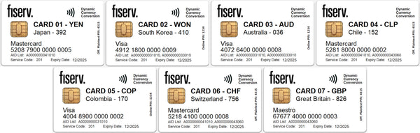 Fiserv DCC EMV Test Card Set (7xCards)