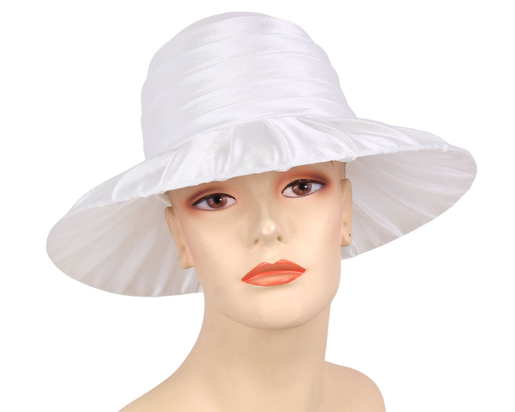 Women's Pleated White Satin Simple Dressy Church Hats