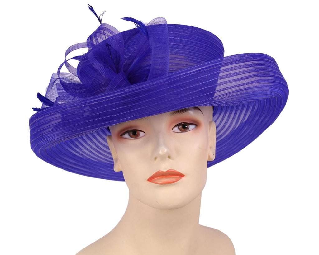 Ladies Horsehair Mesh Church Derby Hats in royal blue with feathers
