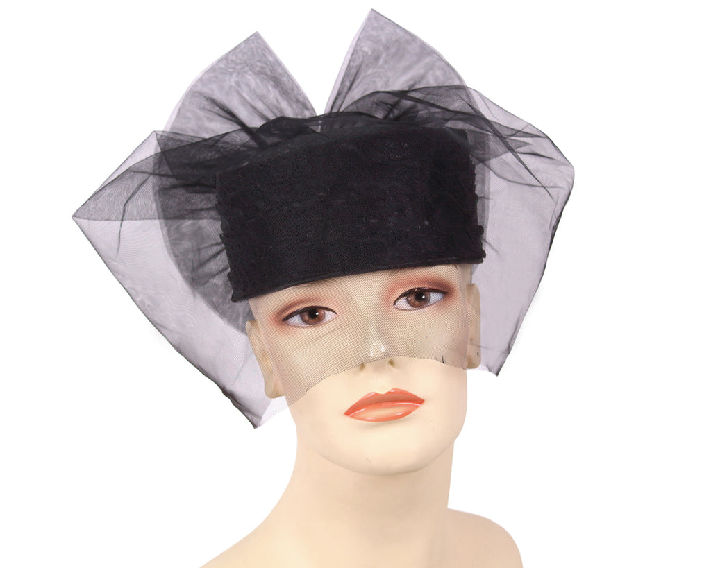 Bridal Hats With Tulle in Black