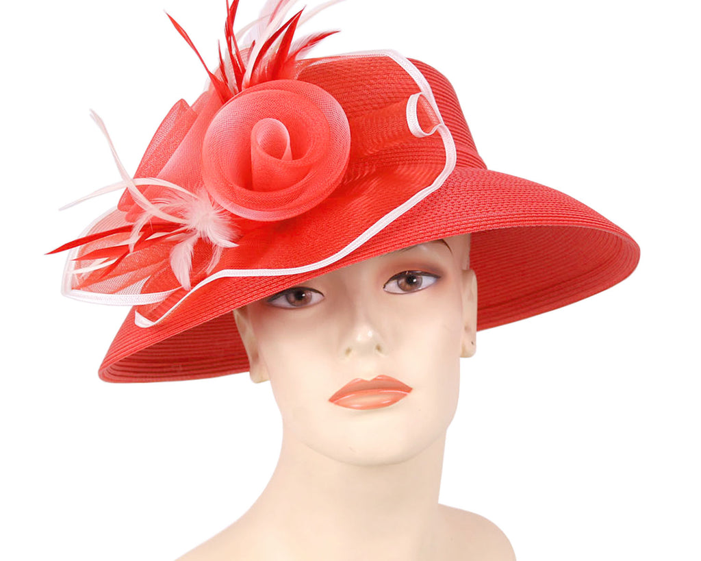 Women's Summer Straw Church Derby Hats in Red and White Feathers