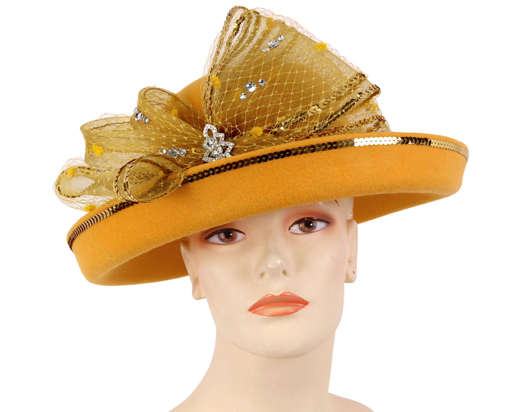 Women's Wool Dressy Church Hats in Yellow Gold with sequin trimmed Bow