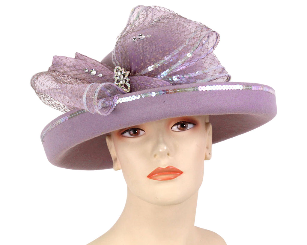 Women's Wool Dressy Church Hats in Lilac with sequin trimmed Bow
