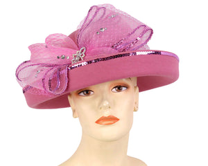 Women's Wool Dressy Church Hats in Pink with sequin trimmed Bow
