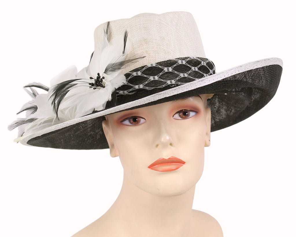 Women's Off White Sinamay Church Derby Hats with Black Lace Band