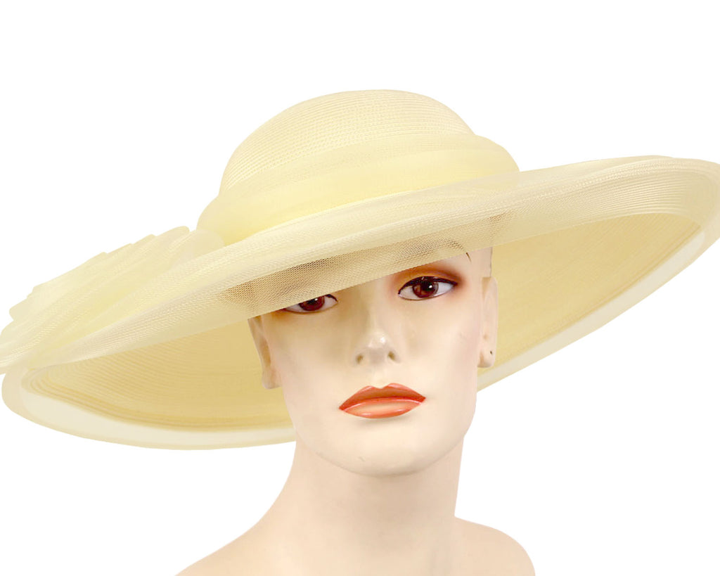 Cream Women's Straw Church Derby Hats Wrapped with Horsehair Mesh
