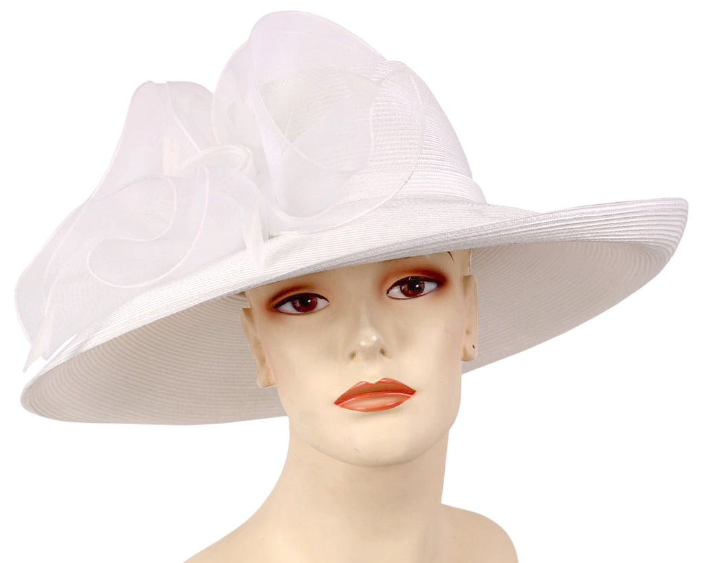 Women's Straw Derby Church Hats in White