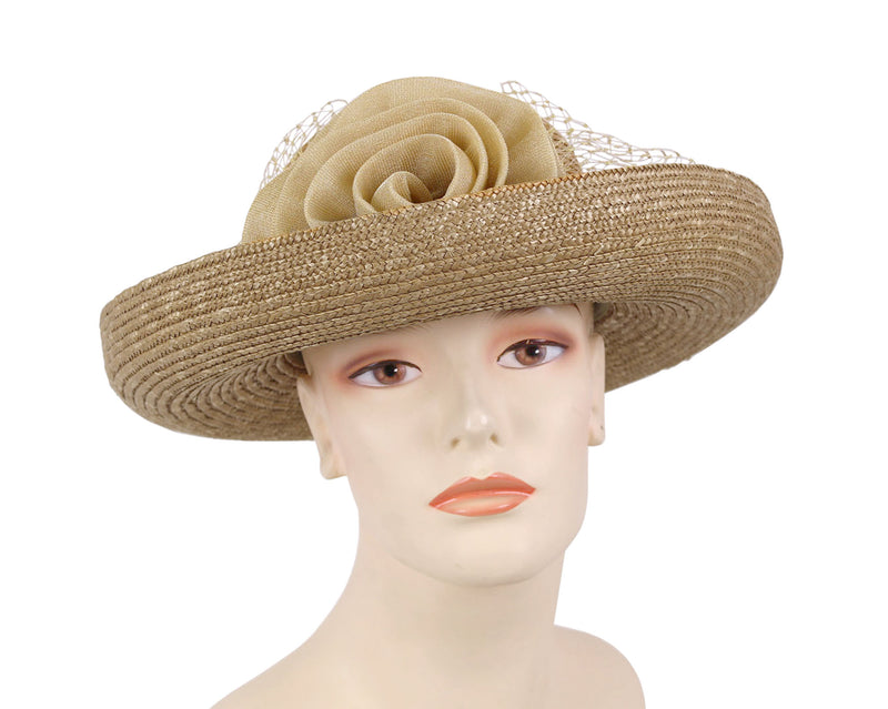 Women's Natural Straw Church Derby Hats - 197 (W50)