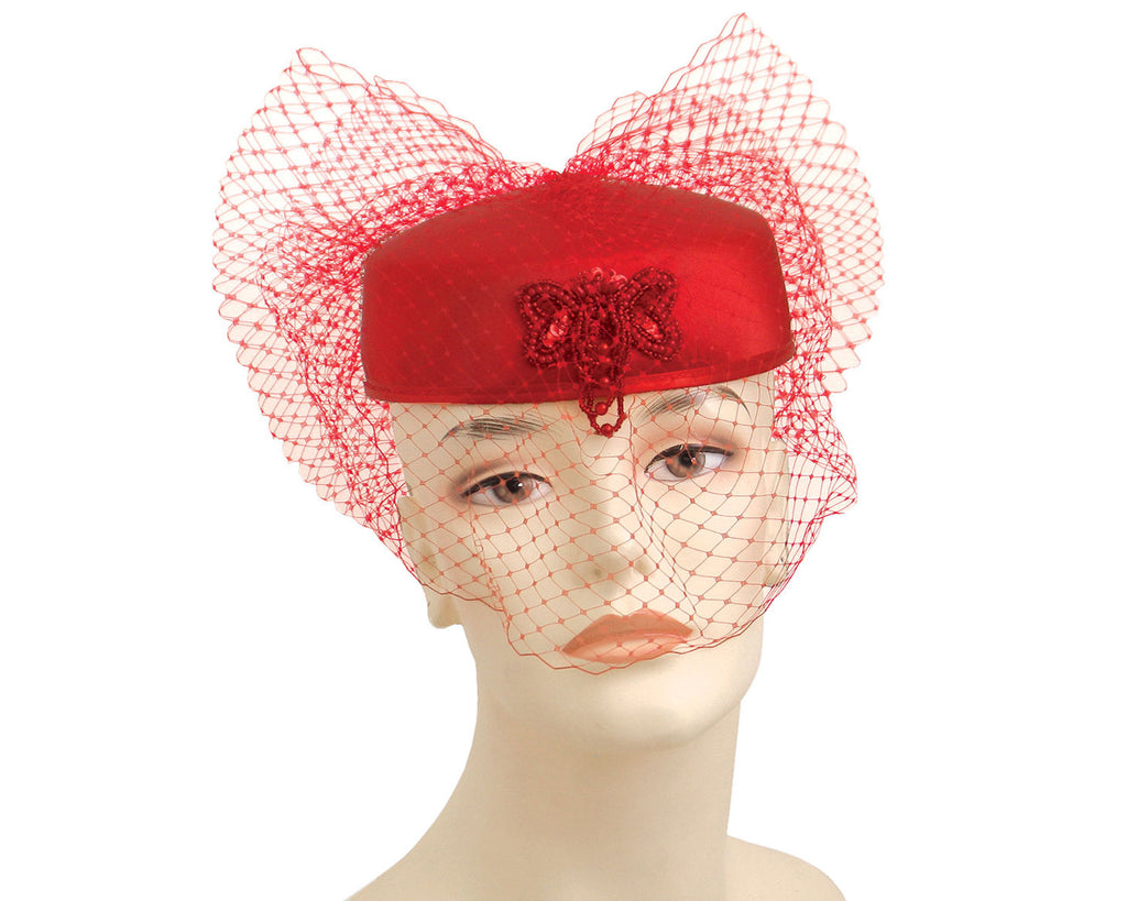 Women's Bridal Church Hats in  Red