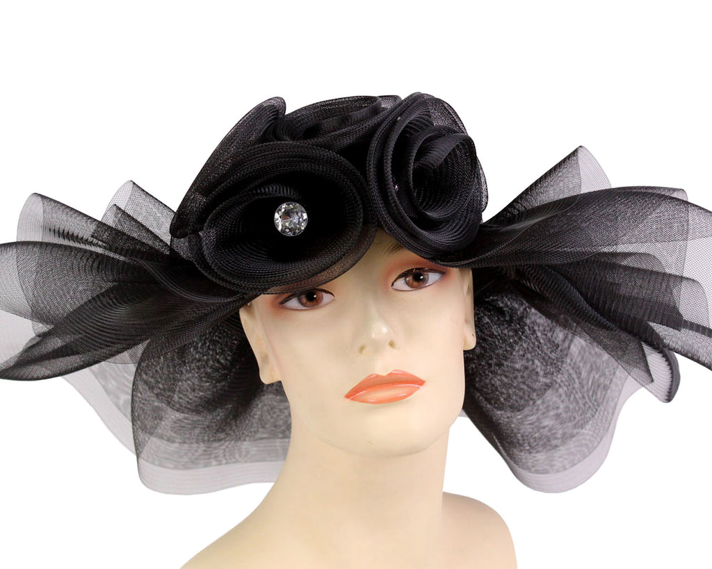 Women's Straw Mesh Derby and Church Hats in Black