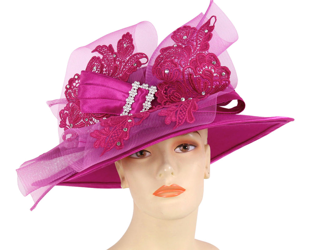 Women's Fuchsia Felt Church Hats with Lace Bow and Satin Trims