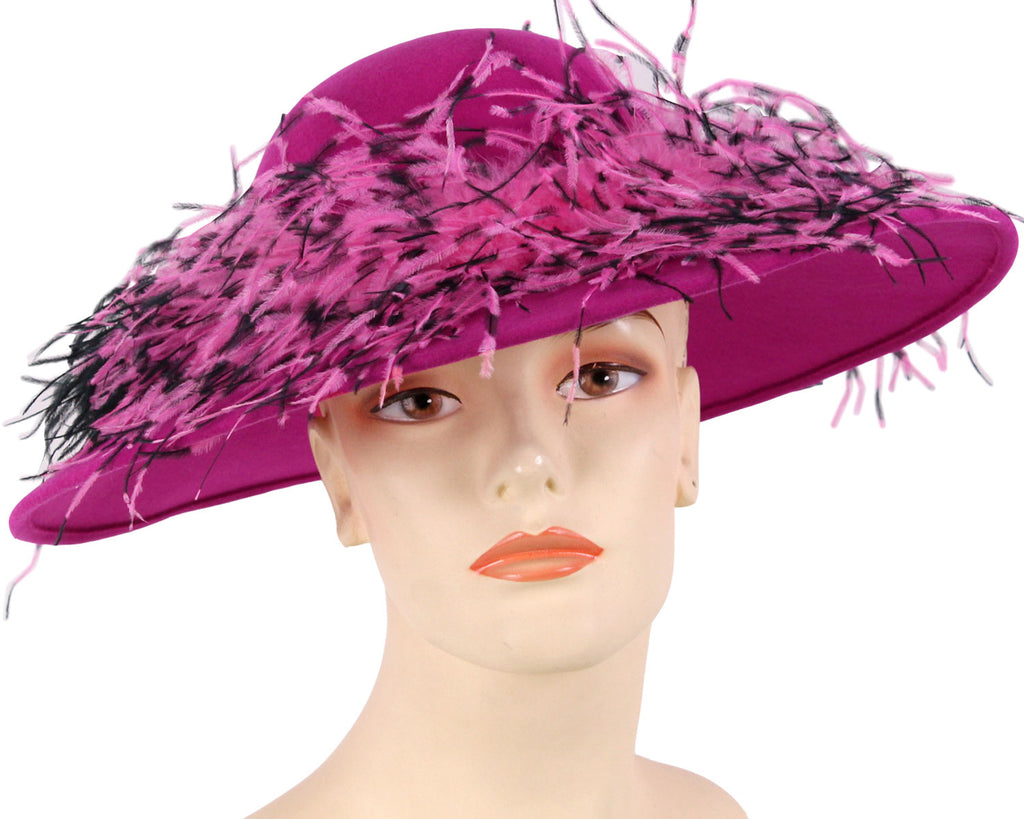 Women's Simple Fuchsia Felt Church Hats with mixed color Ostrich Feather around Crown