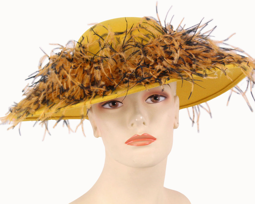 Women's Simple Yellow Gold Felt Church Hats with mixed color Ostrich Feather around Crown