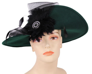 Women's Wool (Felt) Church Hats in Green