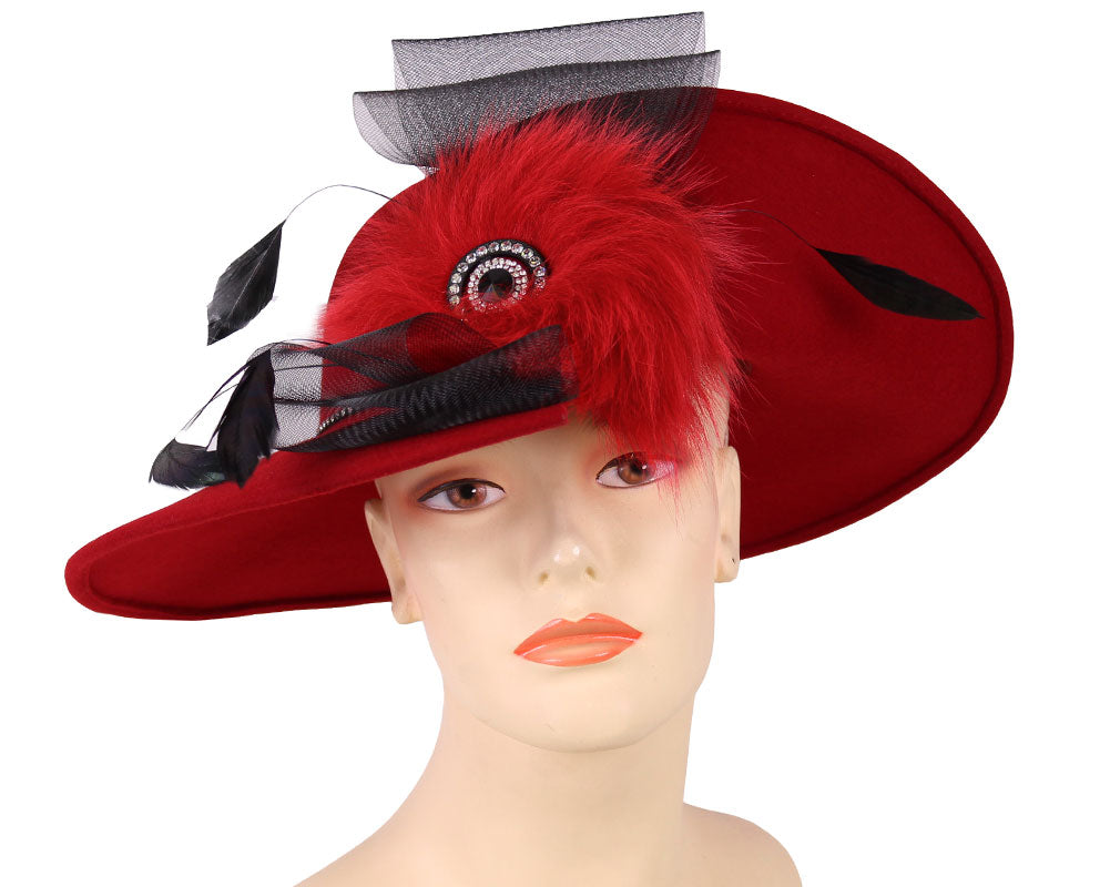 Women's Wool (Felt) Church Hats in Red