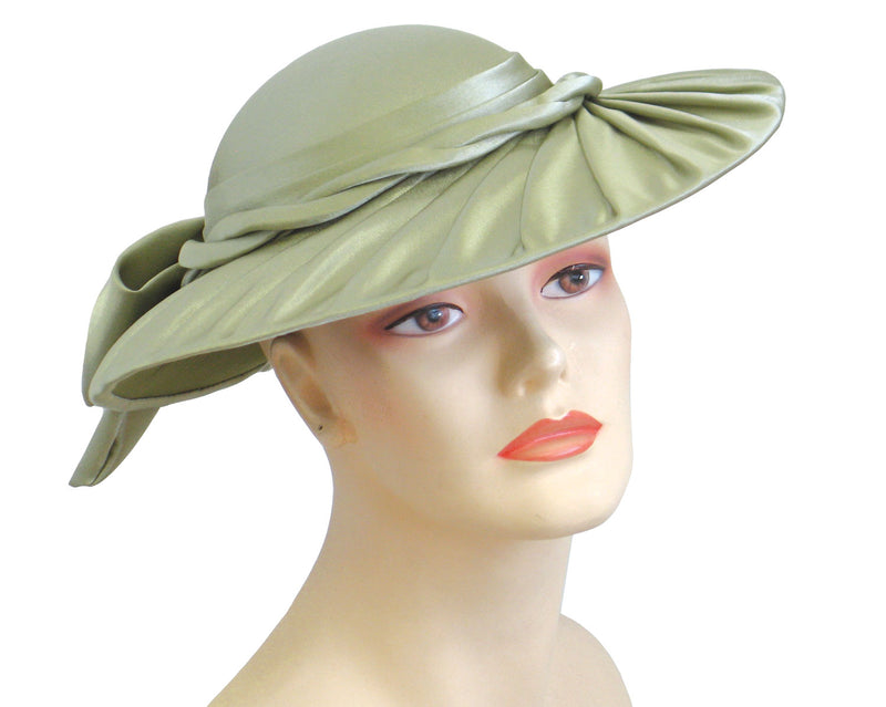 Women's Sage Green Satin Pleated Brim Church Hats