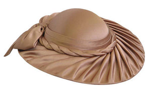 Women's Light Brown Satin Pleated Brim Church Hats