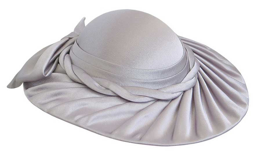 Women's Silver Gray Satin Pleated Brim Church Hats