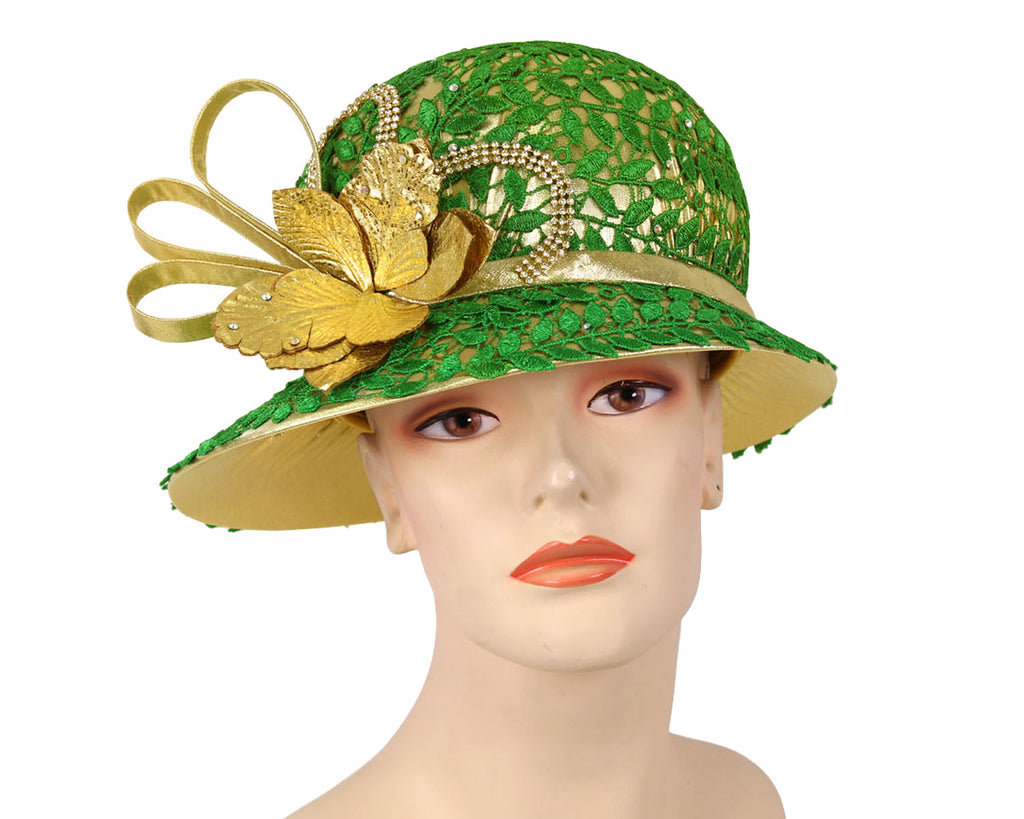 Ladies Gold Metallic Year round Church Derby Hats with green lace overlay